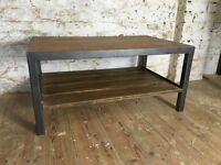 Industrial Style Coffee Table - Oak and Steel