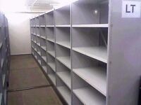10 bays of white industrial shelving 2.8m high ( pallet racking /storage).