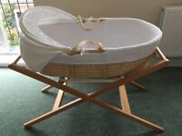 Moses Basket with Stand - John Lewis - Very Good, Clean Condition
