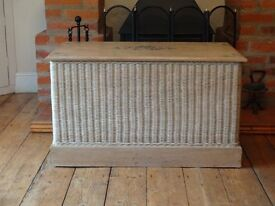 SOLID WOOD ---OTTOMAN/ BLANKET BOX /CHEST ---WITH WICKER SURROUND --LARGE SIZE --