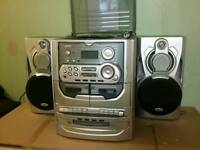 Cd with turntable and cassette player