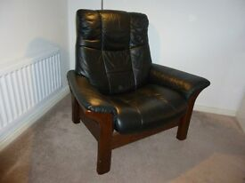 Black Ekornes Quality Leather Self Reclining Armchair.