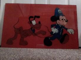Unique Hand Painted on Glass Mickey Mouse and Pluto, Disney Characters.