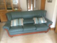 real leather green 3 seater settee and 2 armchairs