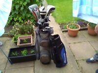 Set of golf clubs & trolley bag.