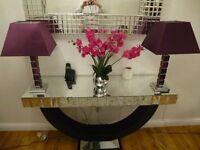 BEAUTIFUL GLASS HEAVY LAMP SET OF 2!!!!!