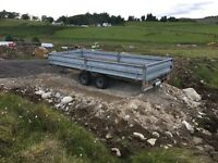 Indespension 16ftFlat bed trailer with sides including led tail lights
