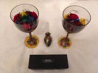 Irimiea Ornate Hand Painted Large Wine Glasses & Wine Bottle Stopper