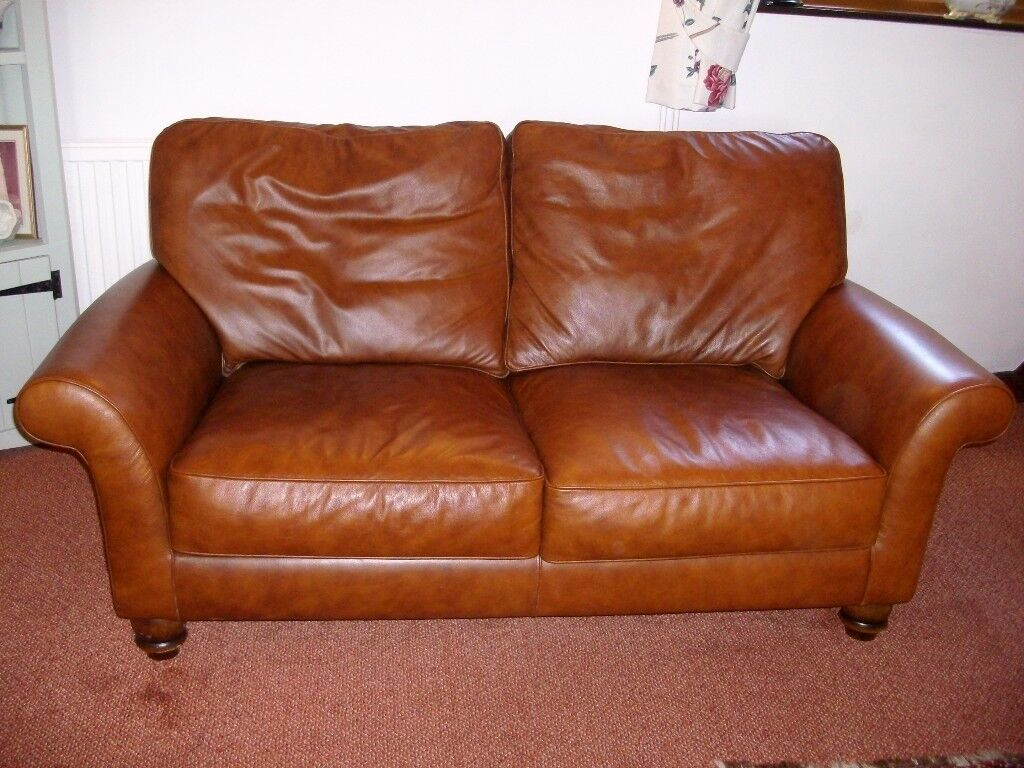 2 Piece John Lewis Brown Leather Sofa And Armchair