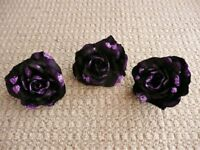 3 Purple Glitter Fabric Large Roses Flowers Clip ons Christmas Xmas Tree Decorations or Crafts etc