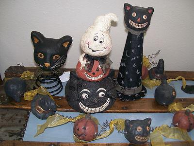 Set of 2 Pumpkin Head Jack o Lantern Black Cat Witch Hat Wire HALLOWEEN GARLAND