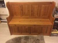 SOLID PINE MONKS CHAIR/ BENCH / HALLWAY SEAT STORAGE