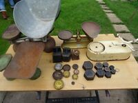 collection of old scales and weights