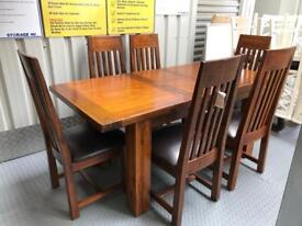 Mark Webster Kember Solid Acacia Extendable Dining Table & 6 Chairs