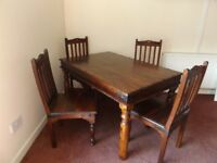 Indian Jaipur Dining Table And Four Chairs Made With Solid Sheesham Wood