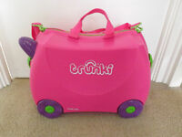TRUNKI PINK TRIXIE EX CONDITION CHILDRENS SUITCASES HAND LUGGAGE