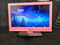 """Alba pink LCD TV 15"""" freeview television with DVD"""