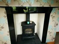 Beautiful granite fireplace surround