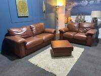 Gorgeous tan leather suite 3 seater sofa 2 seater sofa and pouffe