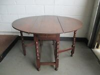 VINTAGE SOLID OAK GATE LEG DINING TABLE WITH DRAWER FREE DELIVERY