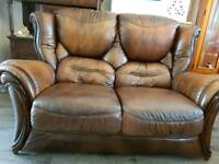Sofa 2 Seater, Brown Leather