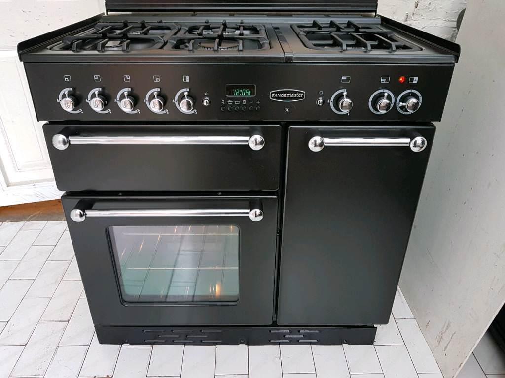 Rangemaster 90 Dual Fuel Range Cooker in Black 90CM