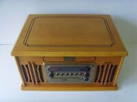 Wooden Retro Turntable AM/FM Radio, CD and Cassette Player Music Centre