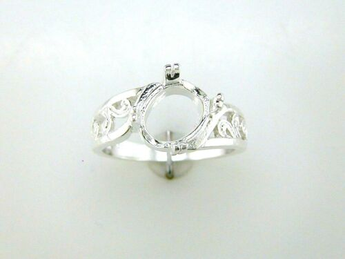 Oval Split Prong Offset Filigree Solitaire Ring Setting Sterling Silver