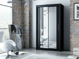 ☀️☀️65% SALE PRICE☀️☀️- BERLIN 2 DOOR SLIDING WARDROBE WITH FULL MIRROR -EXPRESS DELIVERY
