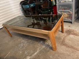 1960's/70's glass coffee table