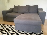 Grey 3 seater sofa bed from John Lewis, pull out double bed with mattress, fool stool with storage.