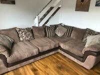 Large corner sofa with snuggle chair and puf