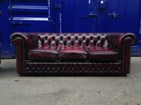 🎉🔥 IMMACULATE CHESTERFIELD 3 seater leather oxblood sofa settee