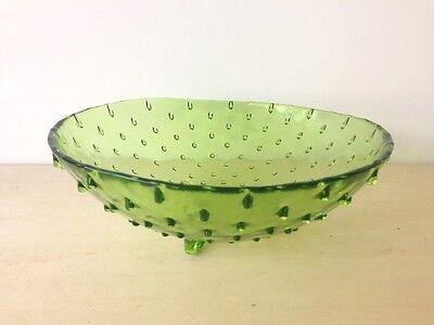 Pin dot hobnail pattern glass dish, green art glass bowl made in Spain