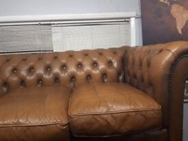 Chesterfield sofa 3 seater plus arm chair. Not bad condition. No rips, slightly worn