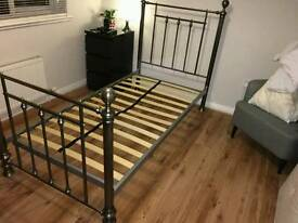 Leamington Single Bed with Mattress Metal Grey Outstanding Condition