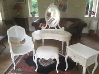 Ivory 4 piece 'Shabby Chic' bedroom set: dressing table, stool, chair, bedside table