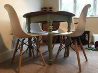 Shabby chic circular small green dining table