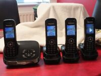 Panasonic Quad Telephone set with answering service and manual
