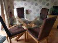 Glass table + 4 chairs