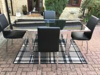 Smoked glass Extendable Dining Table with 4 chairs