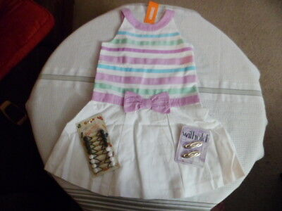Gymboree Girls White Striped Easter Dress 7 New Gift w/Hair Accessories Lot of 3](Girls Easter Gifts)