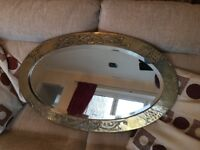 Large Oval Brass Mirror