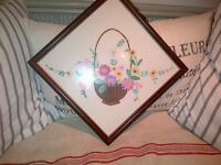 Beautiful unique vintage hand embroidered framed flower basket picture embroidery