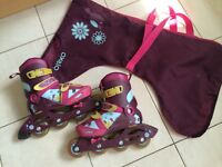 Girls decathlon oxelo inline skates size uk1.5-3