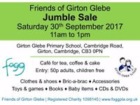 Jumble Sale, Saturday 30th September, from 11am, Girton Glebe Primary School