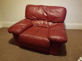 Dark red leather armchair