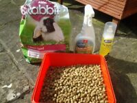 Free rabbit food, fly strike spray and cage cleaning spray