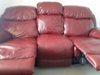 Dark Red Leather Recliner Suite