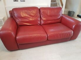 Red Double-seater leather sofa